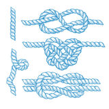 Set of engraved knots and ropes. In vintage style, vector Stock Images