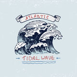 Set of engraved vintage, hand drawn, old, labels or badges for atlantic tidal wave. Marine and nautical or sea, ocean Stock Images