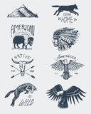 Set of engraved vintage, hand drawn, old, labels or badges for camping, hiking, hunting with bald eagle. buffalo, skull Royalty Free Stock Images