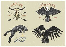 Set of engraved vintage, hand drawn, old, labels or badges for camping, hiking, hunting with bald eagle, wild wolf and Royalty Free Stock Photo