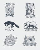Set of engraved vintage, hand drawn, old, labels or badges for camping, hiking, hunting with campfire, backpack and wolf, grizzly. Bear with tent vector illustration