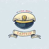Set of engraved vintage, hand drawn, old, labels or badges for captains cap. Marine and nautical or sea, ocean emblems. Always home Royalty Free Stock Image