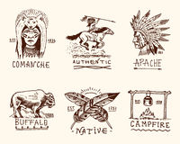Set of engraved vintage, hand drawn, old, labels or badges for indian or native american. buffalo, face with feathers. Horse rider, apache or comanche Royalty Free Stock Images