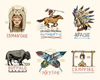 Set of engraved vintage, hand drawn, old, labels or badges for indian or native american. buffalo, face with feathers. Horse rider, apache or comanche Royalty Free Stock Image