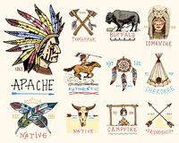 Set of engraved vintage, hand drawn, old, labels or badges for indian or native american. buffalo, face with feathers. Horse rider, apache or comanche Stock Images