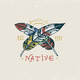 Set of engraved vintage, hand drawn, old, labels or badges for indian or native american, feathers. Royalty Free Stock Images