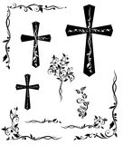 Set of engraving cross with floral pattern Stock Photos