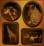A set of engravings of African animals. (Vector) Royalty Free Stock Photo