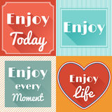 Set of Enjoy Life Motivating Retro Cards Design. Set of Enjoy Life Motivating Retro Cards in Flat Style with Long Shadows. Vector Design Stock Photo