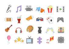 Set of entertainment colorful vector icons. Set of 24 entertainment colorful vector icons Stock Photo