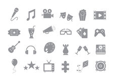 Set of entertainment gray vector icons. Set of 24 entertainment gray vector icons Royalty Free Stock Photos