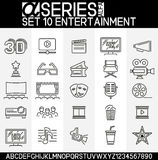 Set of Entertainment Icons. Set of simple icons in thin line design, Icons of many types of entertainment such as, cinema, theater, tv. EPS 8 Royalty Free Stock Photo