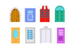 Set entrance door front view. homes and buildings vector element in cartoon style. Set entrance door front view. homes and buildings vector element in cartoon Royalty Free Stock Photography