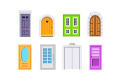 Set entrance door front view. homes and buildings vector element in cartoon style. Set entrance door front view. homes and buildings vector element in cartoon Royalty Free Stock Images