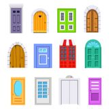 Set entrance door front view. homes and buildings vector element in cartoon style. Set entrance door front view. homes and buildings vector element in cartoon vector illustration