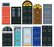A set of entrance doors. In a flat style. Vector illustration Eps10 file royalty free illustration