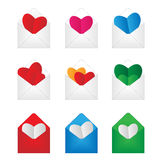 Set envelop with paper hearts inside. Eps10 Royalty Free Stock Images