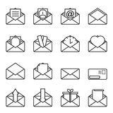 Set of envelope icons for letters with abstract figures enclosed in them. Simple outline on a white background. Isolated.  stock illustration