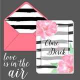 Set envelope and save the date card Royalty Free Stock Photo
