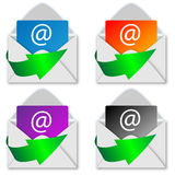 A set of envelopes with arrows Stock Photography