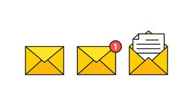 Set of envelopes icons with a picture of a closed letter. Paper document enclosed in an envelope. Delivery of correspondence or. Office documents. Vector royalty free illustration