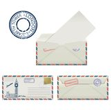 Set of envelopes from London with a painted the Elizabeth tower and postmark. Stylization. Stock Image