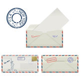 Set of envelopes from New York with a painted Statue of Liberty and postmark. Stock Photography