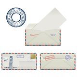 Set of envelopes from Pisa with a painted the Leaning tower and postmark. Stylization. Stock Photography