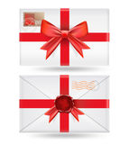 Set of  envelopes with ribbons Royalty Free Stock Photo