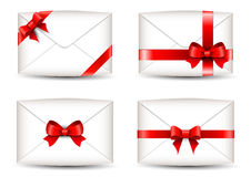 Set of envelopes with ribbons Royalty Free Stock Image