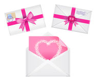 Set of envelopes with ribbons, seal, heart on it, pink greeting Stock Photo