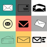 Set of envelopes - web icons, flat design, different colours, sizes and backgrounds. Web use, minimalistic design. Vector illustration the quote: `Jazz is a way Royalty Free Stock Photos