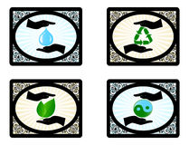 set of environment icons with human hand Royalty Free Stock Images
