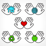 Set of environment icons with human hands Royalty Free Stock Image