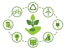 Set of environment icons. Image of a green energy and pollute.Ecology icons. Ecology icons set. Ecology icons flat. Ecology icons illustration. Cartoon flat Royalty Free Stock Image