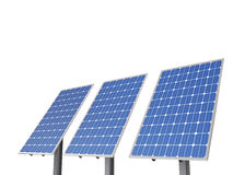 A set of environment solar panel poles,. Isolated white background Stock Photo