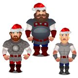 Set of epic heroes of Russian folklore and folk tales with red hats of Santa Claus with pompom isolated on white. Background. Vector cartoon close-up vector illustration