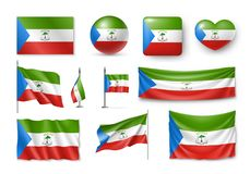Set Equatorial Guinea flags, banners, symbols, flat icon royalty free illustration