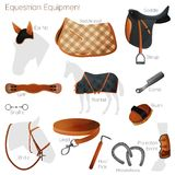 Set of equestrian equipment. Vector. Royalty Free Stock Image