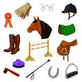 Set of equestrian and grooming icons royalty free illustration
