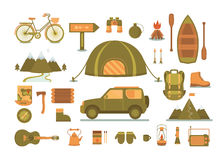 Set of equipment for camping. Royalty Free Stock Photography