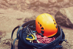Set of equipment for climbing Stock Images
