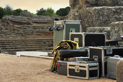 Set of equipment before concert Royalty Free Stock Image