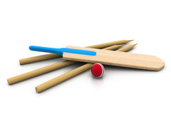 Set equipment for cricket Stock Photos