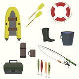 Set of equipment for fishing. Boat, oars, bucket, boots, thermos, drawer fishing rod life preserver bait vector illustration