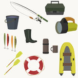 Set of equipment for fishing. Vector illustration Royalty Free Stock Photography