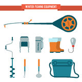 Set equipment flat style for winter fishing on ice stock illustration