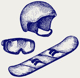 Set equipment for snowboarding Stock Photography