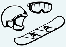 Set equipment for snowboarding. Snowboard, helmet and mask Stock Photo