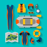 Set of equipment for sports and outdoor activities flat design. Royalty Free Stock Photo